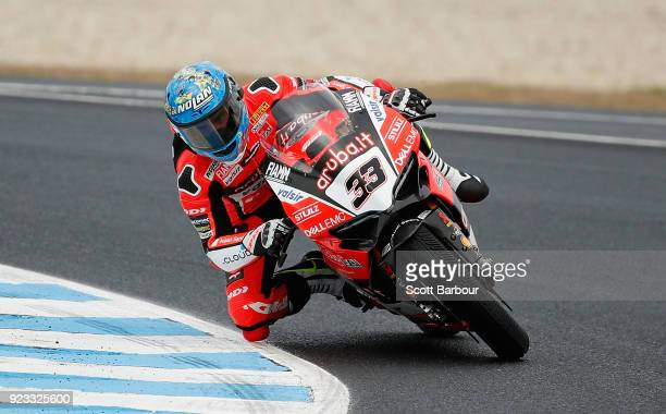 Marco Melandri of Italy and Arubait Racing Ducati rides in the FIM Superbike World Championship Free Practice session ahead of the 2018 Superbikes at...