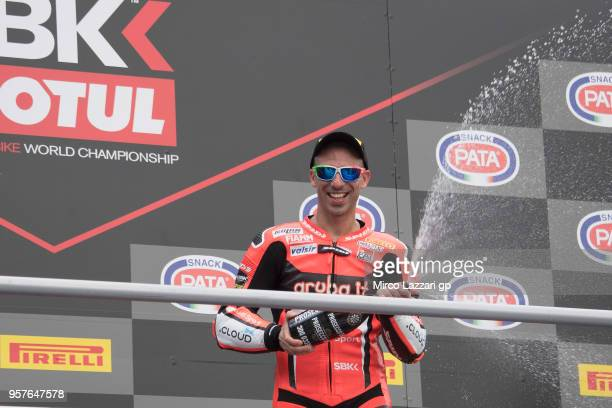 Marco Melandri of Italy and ARUBAIT RACINGDUCATI celebrates on the podium the third place at the end of the WorldSBK Race 1 during the 2018...