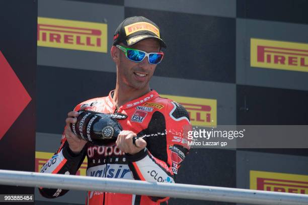 Marco Melandri of Italy and ARUBAIT RACINGDUCATI celebrates the third place on the podium at the end of the Superbike race 2 during the WorldSBK...