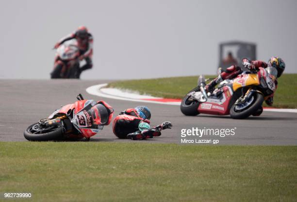 Marco Melandri of Italy and ARUBAIT RACINGDUCATI crashed out during the Superbike Race 1 during the Motul FIM Superbike World Championship Race One...
