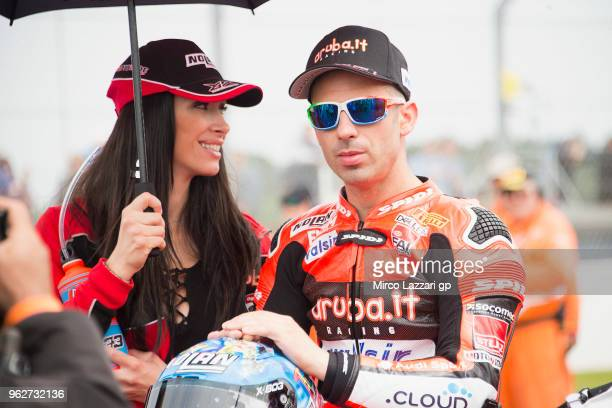 Marco Melandri of Italy and ARUBAIT RACINGDUCATI prepares to start on the grid during the Superbike Race 1 during the Motul FIM Superbike World...