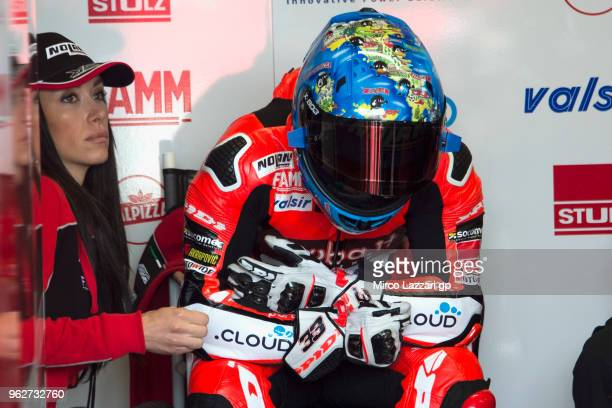 Marco Melandri of Italy and ARUBAIT RACINGDUCATI prepares to start from box before the Superbike Race 1 during the Motul FIM Superbike World...