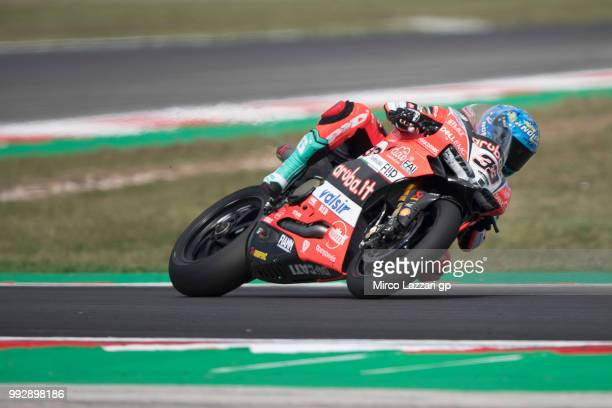 Marco Melandri of Italy and ARUBAIT RACINGDUCATI rounds the bend during the WorldSBK Riviera di Rimini Free Practice on July 6 2018 in Misano...