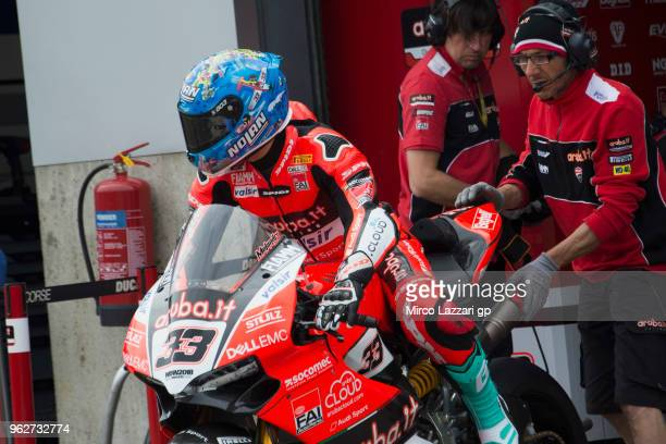 Marco Melandri of Italy and ARUBAIT RACINGDUCATI starts from box before the Superbike Race 1 during the Motul FIM Superbike World Championship Race...