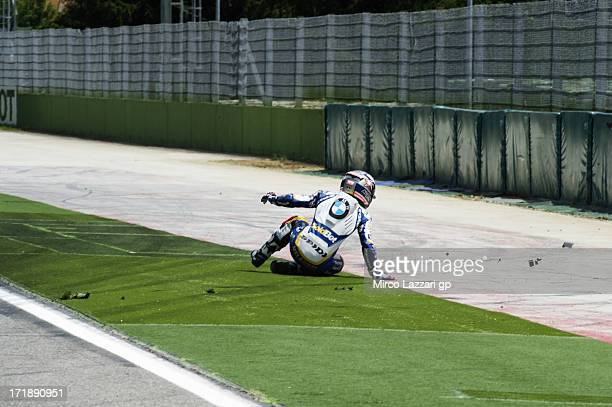 Marco Melandri of Italy and BMW Motorrad GoldBet SBK crashed out during the round seven of 2013 Supersbike FIM World Championship during the World...