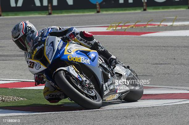Marco Melandri of Italy and BMW Motorrad GoldBet SBK rounds the bend during the round seven of 2013 Supersbike FIM World Championship during the...