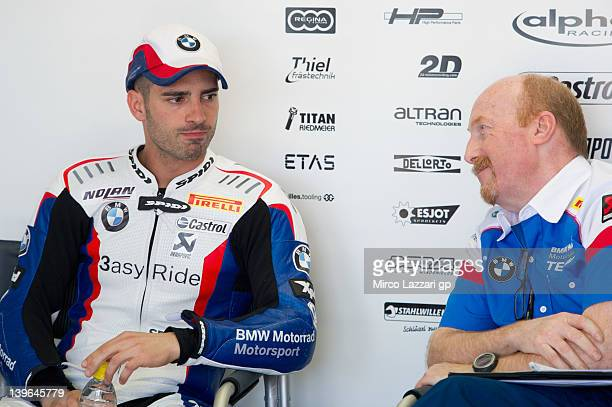 Marco Melandri of Italy and BMW Motorrad Motorsport looks on in box during the qualifying practice of the first round of 2012 Superbike FIM World...