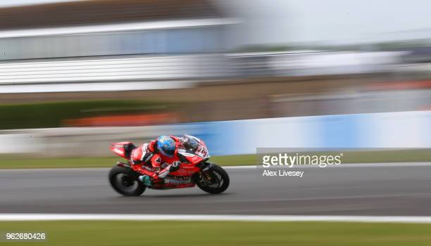 Marco Melandri of Italy in action during race one of the Motul FIM Superbike World Championship at Donington Park on May 26 2018 in Castle Donington...