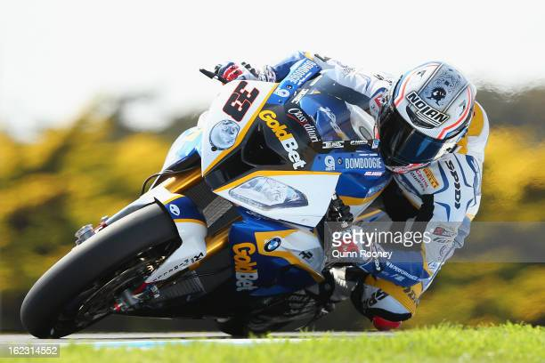 Marco Melandri of Italy riding the BMW Motorrad Goldbet SBK Team during free practice ahead of the World Superbikes at Phillip Island Grand Prix...