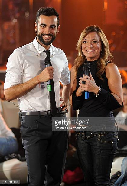Marco Mengoni and Paola Gallo attend RadioItaliaLive at Radio Italia Studios on October 16 2013 in Milan Italy