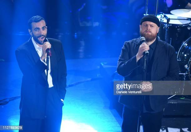 Marco Mengoni and Tom Walker on stage during the second night of the 69th Sanremo Music Festival at Teatro Ariston on February 06, 2019 in Sanremo,...