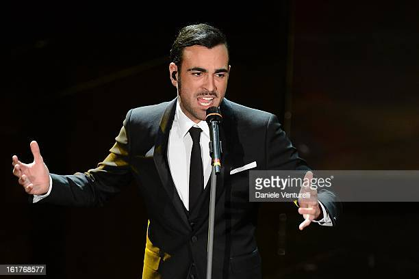 Marco Mengoni attend the fourth night of the 63rd Sanremo Song Festival at the Ariston Theatre on February 15, 2013 in Sanremo, Italy.