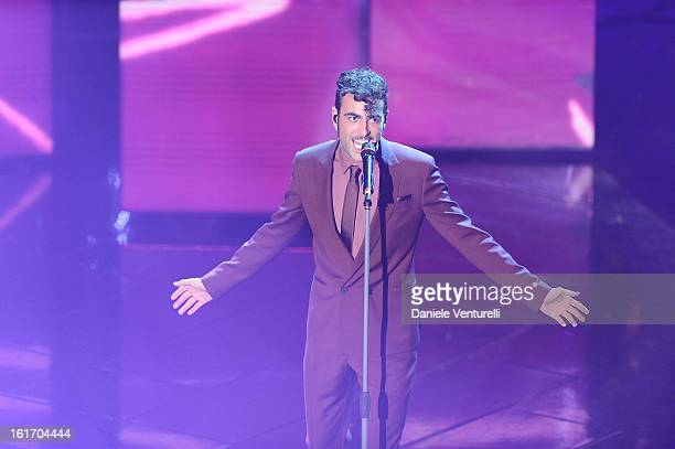 Marco Mengoni attend the third night of the 63rd Sanremo Song Festival at the Ariston Theatre on February 14 2013 in Sanremo Italy