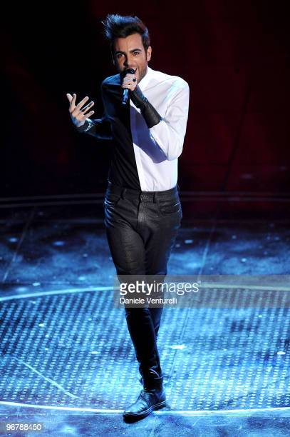 Marco Mengoni attends the 60th Sanremo Song Festival at the Ariston Theatre On February 16, 2010 in San Remo, Italy.