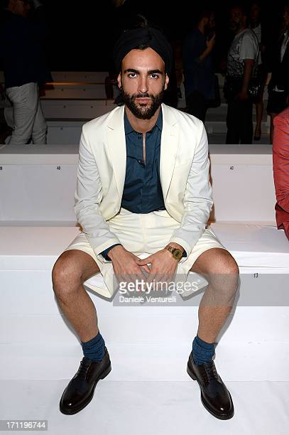 Marco Mengoni attends the 'Salvatore Ferragamo' show as part of Milan Fashion Week Spring/Summer 2014 on June 23 2013 in Milan Italy