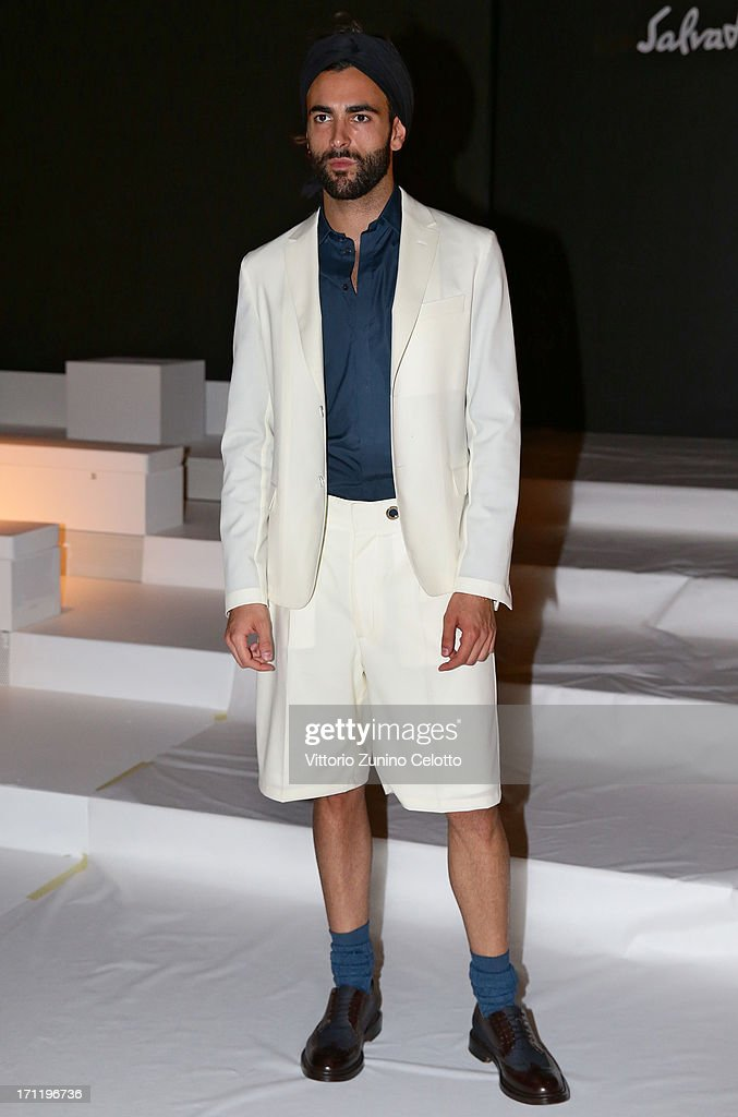 Marco Mengoni attends the Salvatore Ferragamo show during Milan Menswear Fashion Week Spring Summer 2014 on June 23, 2013 in Milan, Italy.