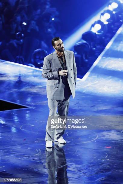 Marco Mengoni attends X Factor tv show at Mediolanum Forum on December 13, 2018 in Milan, Italy.