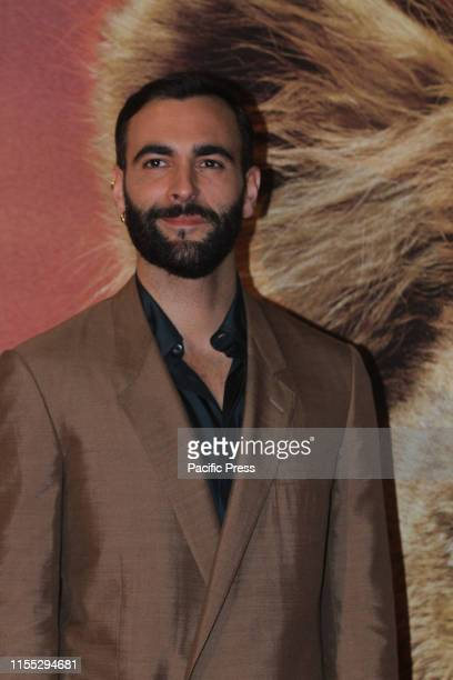 """Marco Mengoni making the photocall for the Italian version of """"The lion King"""" at Warner Cinema Moderno in Rome."""