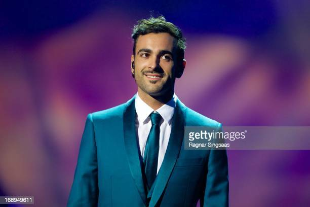 Marco Mengoni of Italy performs during a dress rehearsal ahead of the finals of the Eurovision Song Contest 2013 at Malmo Arena on May 17, 2013 in...