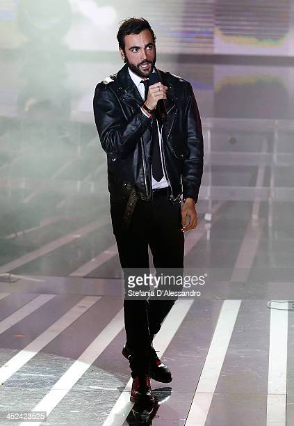 "Marco Mengoni performs at ""X Factor 2013 - Il Live"" on November 28, 2013 in Milan, Italy."