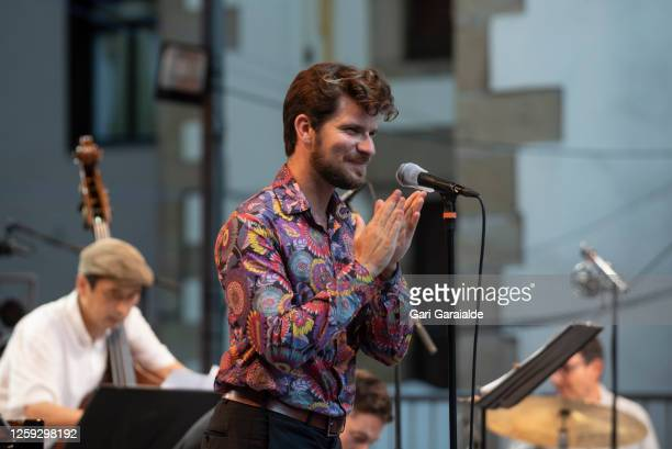 Marco Mezquida speaks on stage with the Beethoven Collage project during the 55th edition of the Heineken Jazzaldia Festival on July 26 2020 in San...