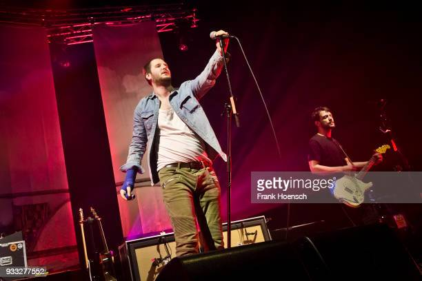 Marco Michael Wanda and Manuel Christoph Poppe of the Austrian band Wanda perform live on stage during a concert at the MaxSchmelingHalle on March 17...