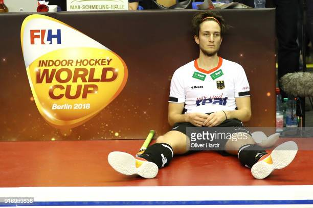 Marco Miltkau of Germany appears frustrated after the Mens Gold Medal Indoor Hockey World Cup Berlin Final Day match between Germany and Austria on...
