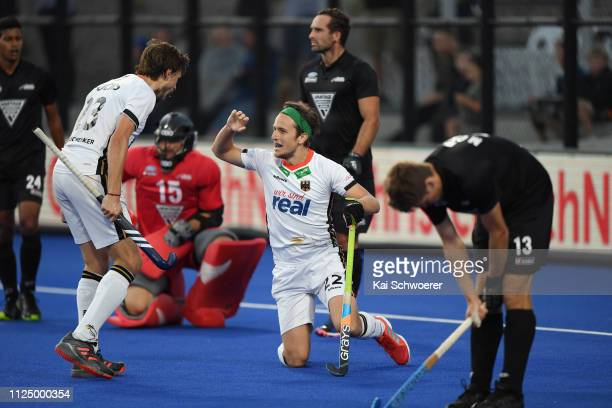 Marco Miltkau of Germany celebrates his goal during the New Zealand v Germany Men's FIH Field Hockey Pro League match on February 15 2019 in...