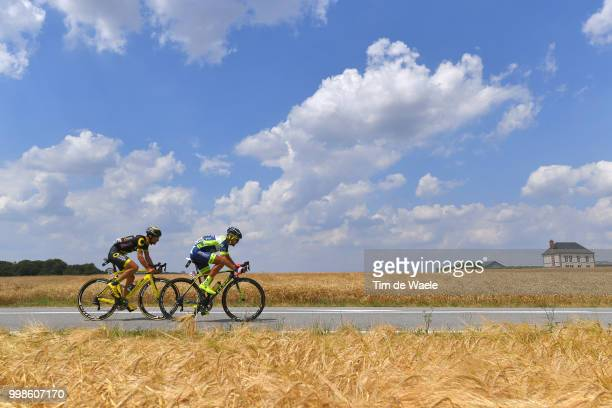 Marco Minnaard of The Netherlands and Team Wanty Groupe Gobert / Fabien Grellier of France and Team Direct Energie / Landscape / sky / during the...