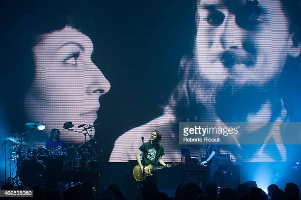 Marco Minnemann, Steven Wilson and Adam Holzman perform on stage at Queens Hall on March 16, 2015 in Edinburgh, United Kingdom.