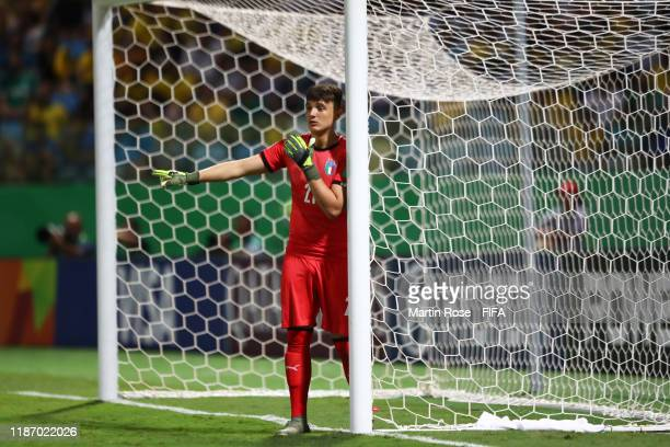 Marco Molla of Italy looks on during the FIFA U-17 World Cup Quarter Final match between Italy and Brazil at the Estádio Olímpico Goiania on November...
