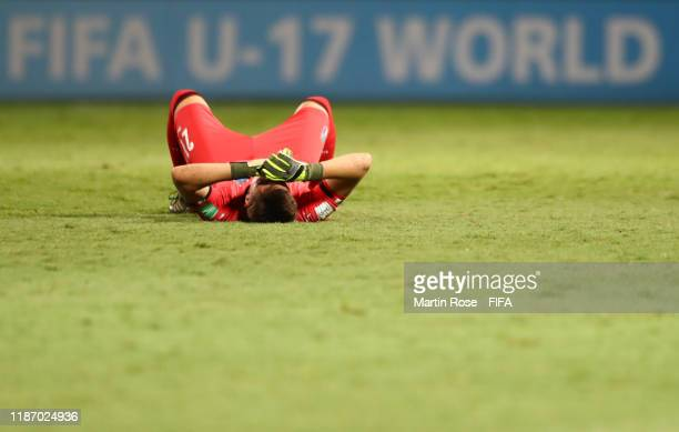 Marco Molla of Italy reacts at the final whistle during the FIFA U-17 World Cup Quarter Final match between Italy and Brazil at the Estádio Olímpico...