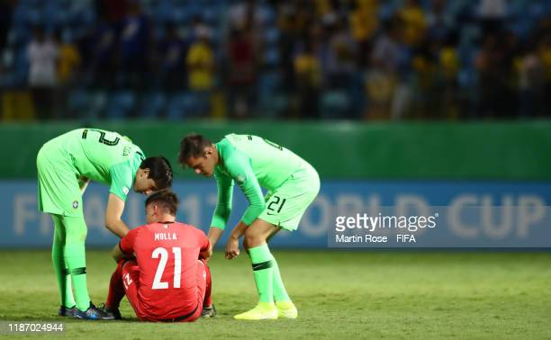 Marco Molla of Italy reacts at the final whistle during the FIFA U17 World Cup Quarter Final match between Italy and Brazil at the Estádio Olímpico...