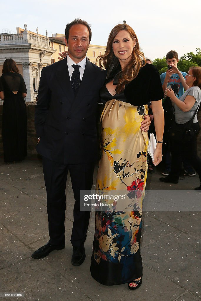Marco Moraci and Veronica Maya attend the Valeria Marini And Giovanni Cottone wedding at Ara Coeli on May 5, 2013 in Rome, Italy.