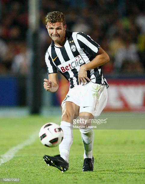 Marco Motta of Juventus FC is shown in action during the pre season friendly match between Juventus FC and Olimpic Lyon at Stadio San Vito on July 24...