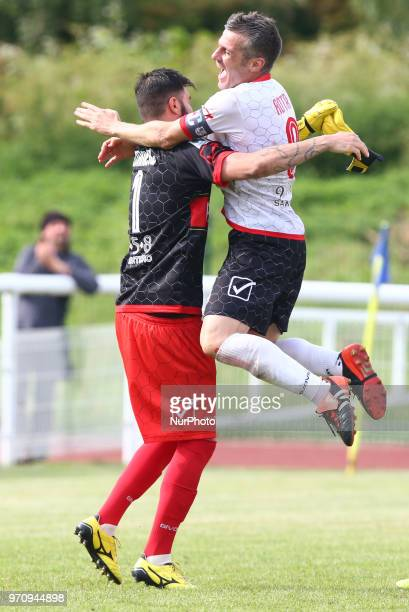Marco Murriero of Padania and Andrea Rota of Padania celebrate after saveing a penalty to win the game during Conifa Paddy Power World Football Cup...