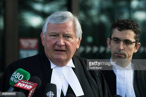 Marco Muzzo's lawyer Brian Greenspan answers questions at court after his client was released on a million dollar bail in Newmarket, Ontario.