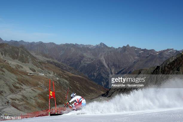Marco Odermatt of Switzerland competes during the Audi FIS Alpine Ski World Cup Men's Giant Slalom at Rettenbachferner on October 27, 2019 in...