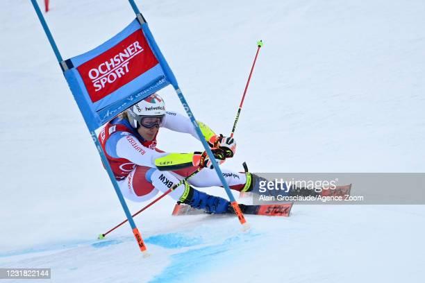 Marco Odermatt of Switzerland in action during the Audi FIS Alpine Ski World Cup Men's Giant Slalom on March 20, 2021 in Lenzerheide, Switzerland.