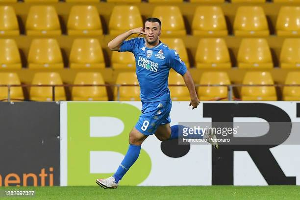 Marco Olivieri of Empoli FC celebrates after scoring the 0-1 goal during the Coppa Italia match between Benevento Calcio and Empoli FC at Stadio Ciro...