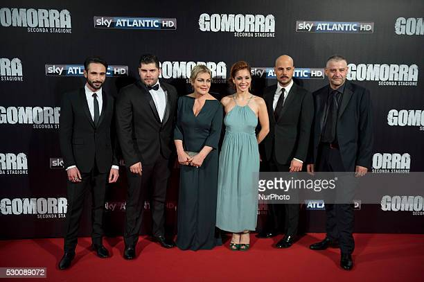 Marco Palvetti, Salvatore Esposito, Marco D'Amore, Fortunato Cerlino attends the 'Gomorra 2 - La serie' on red carpets at The Teatro dell'Opera in...