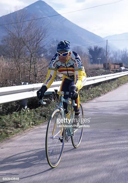 Marco Pantani of Italy cycling in Tuscany, circa 1999.