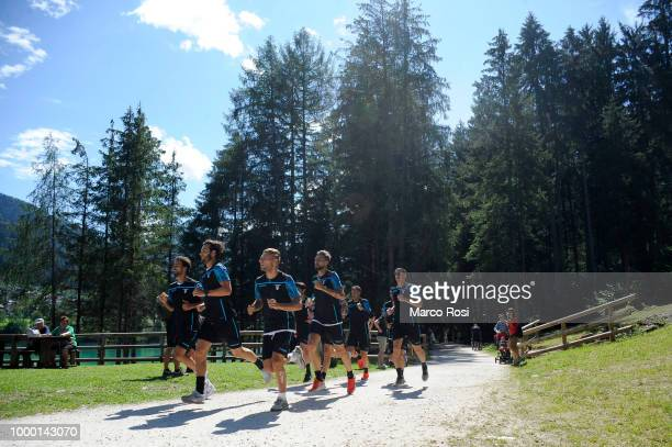 Senad Lulic Dusan Basta and Lorenzo Filippini of SS Lazio duirng the SS Lazio preseason training camp on July 16 2018 in Auronzo di Cadore...