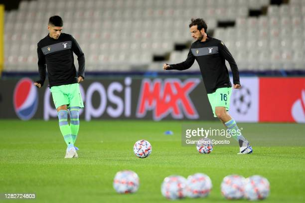 Marco Parolo and Joaquin Correo of SS Lazio before the UEFA Champions League Group F stage match between Club Brugge KV and SS Lazio at Jan Breydel...