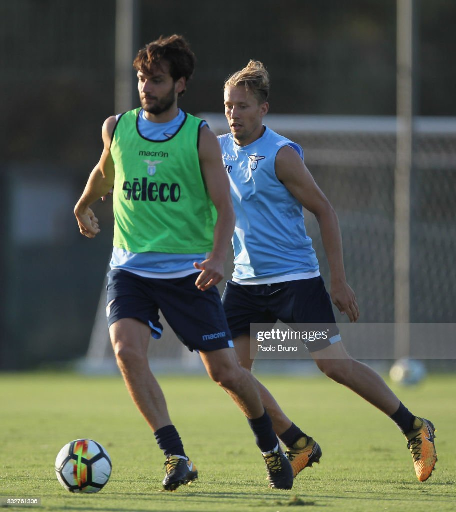 Marco Parolo and Lucas Leiva of SS Lazio in action during the SS Lazio training session on August 16, 2017 in Rome, Italy.