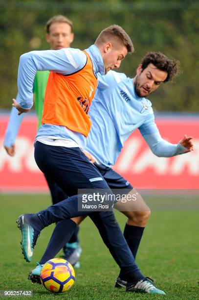 Marco Parolo and Sergej Milinkovic Savic of SS Lazio during a SS Lazio training session on January 15 2018 in Rome Italy