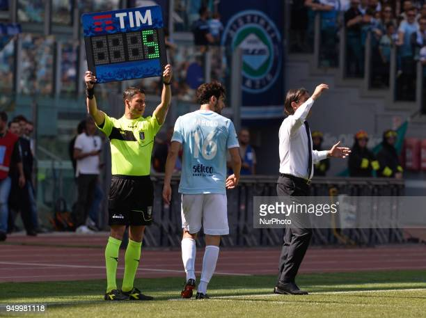 Marco Parolo leaves the field during the Italian Serie A football match between SS Lazio and US Sampdoria at the Olympic Stadium in Rome on april 22...