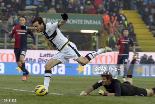 Marco Parolo of FC in action during the Serie A match between Parma FC and Cagliari Calcio at Stadio Ennio Tardini on December 16 2012 in Parma Italy