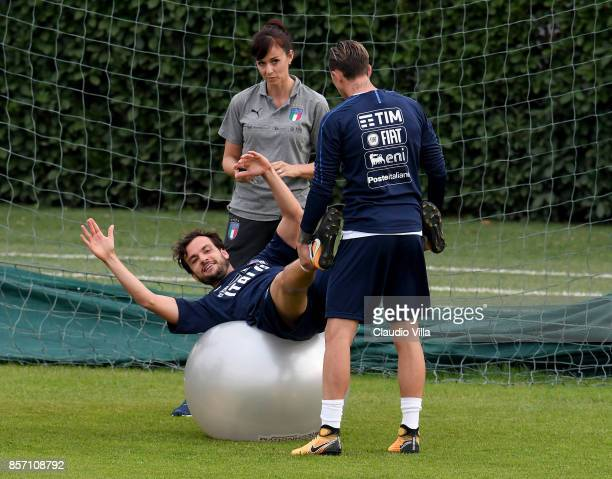Marco Parolo of Italy in action during a training session at Italy club's training ground at Coverciano on October 3 2017 in Florence Italy