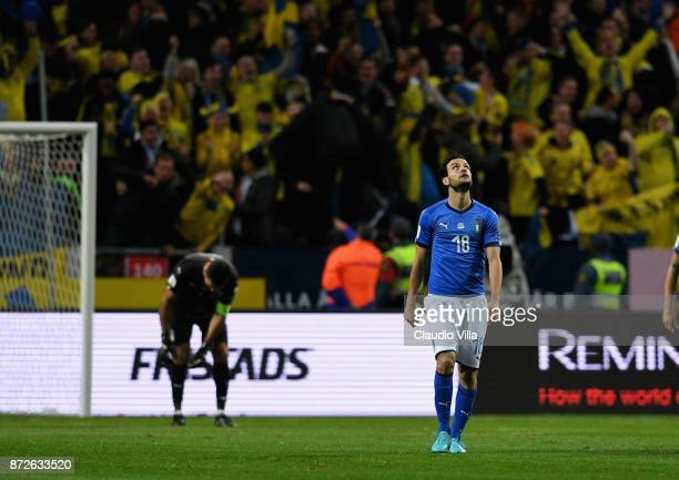 Marco Parolo of Italy in reacts during the FIFA 2018 World Cup Qualifier PlayOff First Leg between Sweden and Italy at Friends Arena on November 10...